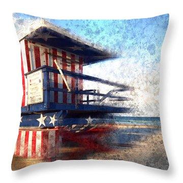 Modern-art Miami Beach Watchtower Throw Pillow