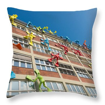 Modern Art On Building Throw Pillow by Hans Engbers