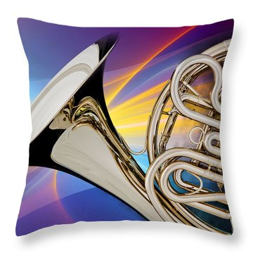 Modern French Horn Photograph In Color 3437.02 Throw Pillow