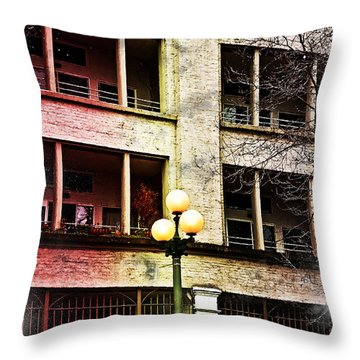 Modern Grungy City Building  Throw Pillow by Valerie Garner