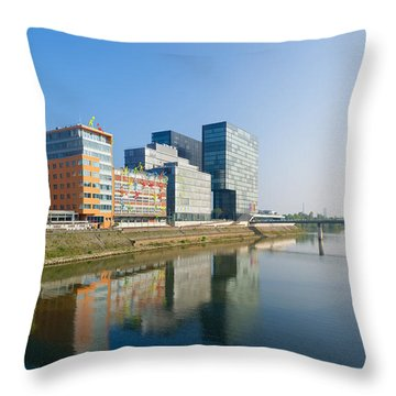 Modern Office Buildings Reflected Throw Pillow by Hans Engbers