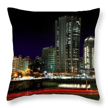 Modern Sao Paulo Skyline Near Brooklin District And Stayed Bridge Throw Pillow