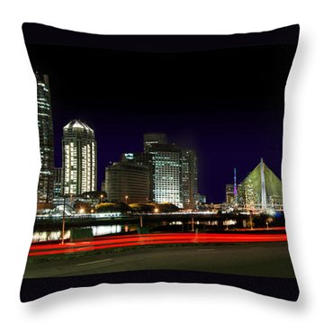 Modern Sao Paulo Skyline Near Brooklin District And Stayed Bridge Throw Pillow