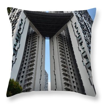 Throw Pillow featuring the photograph Modern Skyscraper Apartment Building Singapore by Imran Ahmed