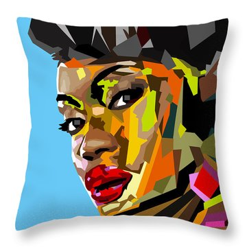 Throw Pillow featuring the digital art Modern Woman by Anthony Mwangi
