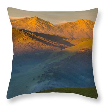 Morning Light On Mt. Diablo Throw Pillow by Marc Crumpler