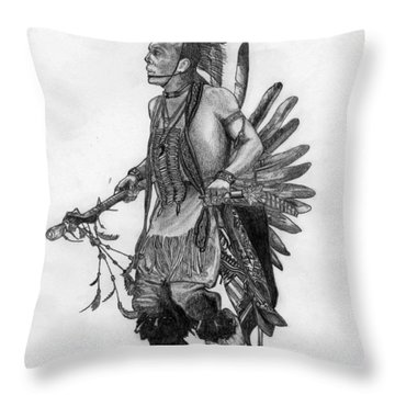 Mohawk Dancer Throw Pillow by Lew Davis