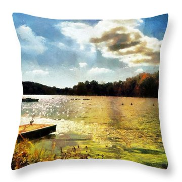 Mohegan Lake Gold Throw Pillow by Derek Gedney