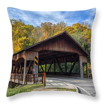 Mohican Covered Bridge Throw Pillow