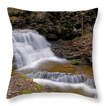 Mohican Falls In Spring Throw Pillow by Shelly Gunderson
