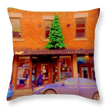 Moishes On The Main At Christmas Time Montreal Restaurant Winter City Scene Art Carole Spandau Throw Pillow by Carole Spandau