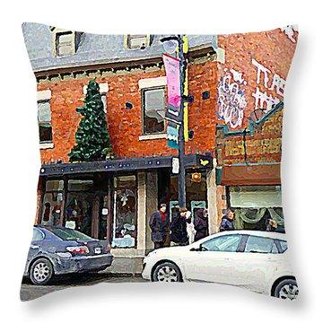 Moishes Restaurant Plateau Montreal Memories Vintage Landmark  Winter Scene Art Carole Spandau  Throw Pillow by Carole Spandau