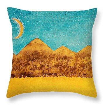 Mojave Moonrise Original Painting Throw Pillow by Sol Luckman