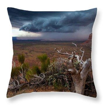 Moki Dugway Thunderstorm - Southern Utah Throw Pillow