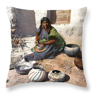 Moki Indian Potter 1899 Throw Pillow by Unknown