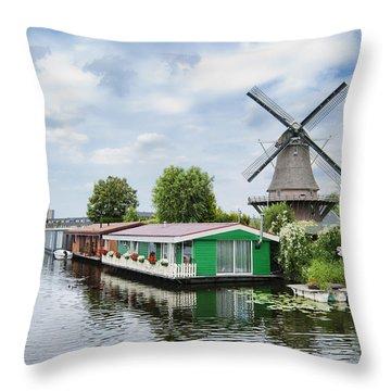 Molen Van Sloten And River Throw Pillow