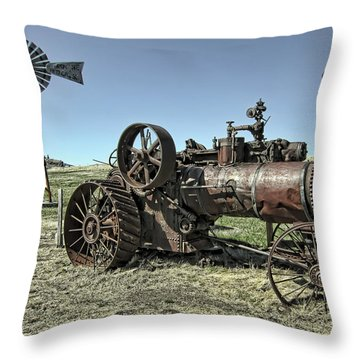 Molson Washington Ghost Town Steam Tractor And Wind Mill Throw Pillow by Daniel Hagerman