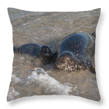 Throw Pillow featuring the photograph Mom And Baby Harbor Seal by Lee Kirchhevel