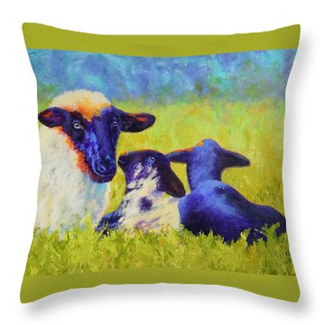 Mom And The Kids Throw Pillow by Nancy Jolley