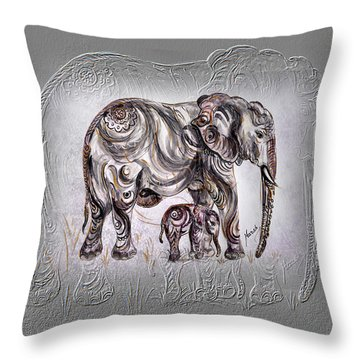 Mom Elephant Throw Pillow