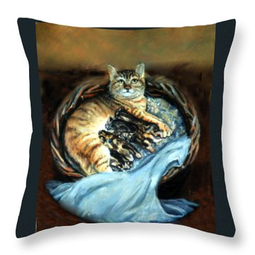Throw Pillow featuring the painting Mom With Her Kittens by Donna Tucker
