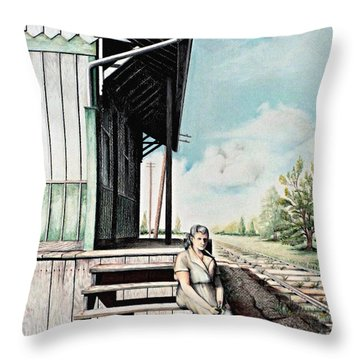 Mom With Rose Throw Pillow