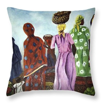 Throw Pillow featuring the painting Mombasa Market by Sher Nasser