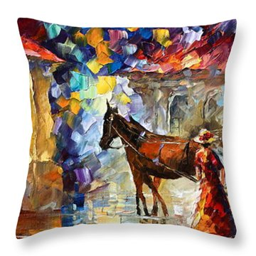 Momentary Stop Throw Pillow by Leonid Afremov