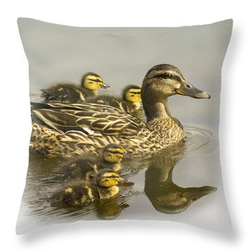 Momma And Babies Throw Pillow by Sonya Lang