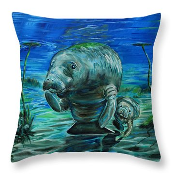 Throw Pillow featuring the painting Momma Manatee by Steve Ozment