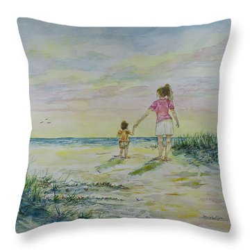 Mommy And Me At The Beach Throw Pillow