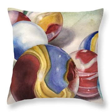 Mom's Marble Shooter Throw Pillow by Anne Gifford