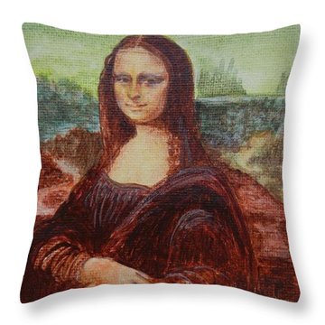 Throw Pillow featuring the painting Mona by Diana Bursztein