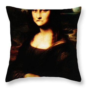 Mona Lisa Take One Throw Pillow by Bill Cannon
