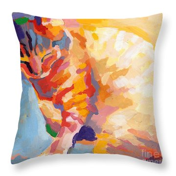 Mona Lisa's Rainbow Throw Pillow by Kimberly Santini