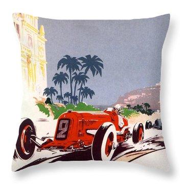Monaco Grand Prix 1934 Throw Pillow by Georgia Fowler