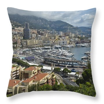Throw Pillow featuring the photograph Monaco Harbor by Allen Sheffield