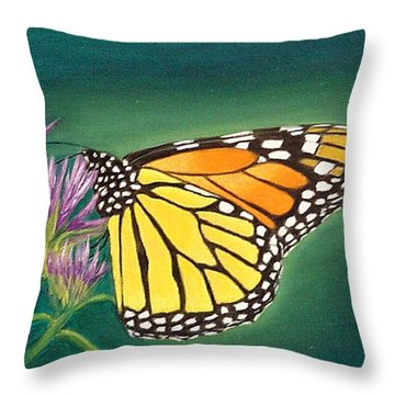 Throw Pillow featuring the painting Monarch And Liatris by Fran Brooks
