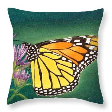 Monarch And Liatris Throw Pillow
