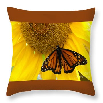Monarch And Sunflower Throw Pillow by Ann Horn