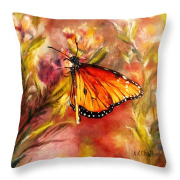 Throw Pillow featuring the painting Monarch Beauty by Karen Kennedy Chatham