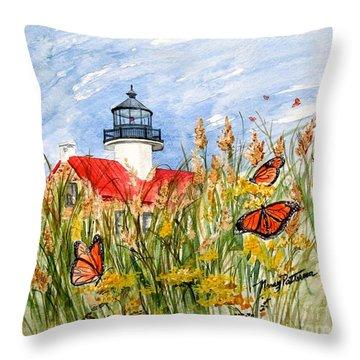 Monarch Butterflies At East Point Light Throw Pillow