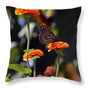 Monarch Butterfly And Orange Zinnias Throw Pillow by Kay Novy