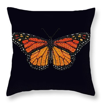 Monarch Butterfly Bedazzled Throw Pillow