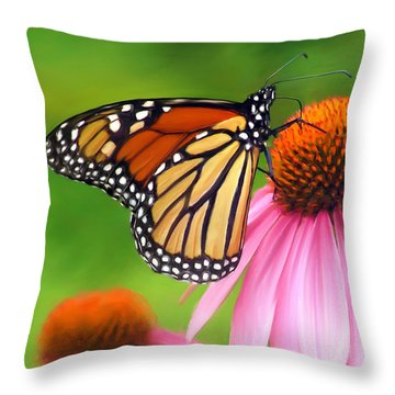 Monarch Butterfly Throw Pillow by Christina Rollo