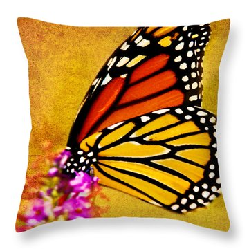 Monarch Butterfly Color Splash Sunset Throw Pillow