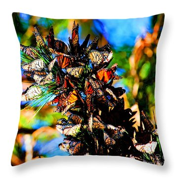 Monarch Butterfly Migration Throw Pillow by Tap On Photo