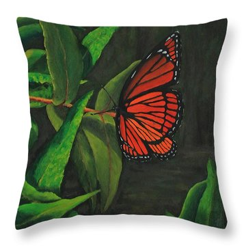 Viceroy Butterfly Oil Painting Throw Pillow