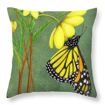 Throw Pillow featuring the painting Monarch Gold by Fran Brooks