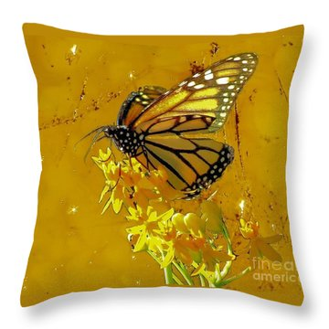 Throw Pillow featuring the photograph Monarch On Gold by Janette Boyd